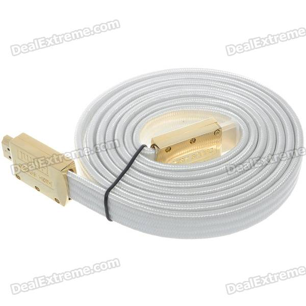 Gold Plated 1080P HDMI V1.4 M-M Flat Connection Cable - White (1.8M-Length)