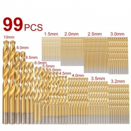 99-Piece 1.5-10mm High Speed Steel Titanium Coated Twist Drilling Bits Kit for Cordless Screwdriver