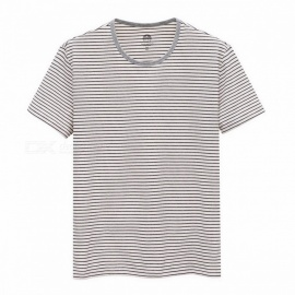 Spring Summer Short Sleeve T-shirt Sailor's Striped Round-Neck T-shirt for Men - White (L)