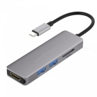 Cwxuan Type-C to HDMI 4K HD Converter Adapter with USB 3.0 Hub / TF SD Card Reader - Grey