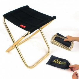 Outdoor Camping Fishing Mini Portable Folding Chair Aluminum Alloy Stool - Black + Golden