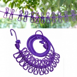 Outdoor Portable Home Adjustable 190cm Clothline Rope With 12pcs Anti-Skid Clothespin - Purple