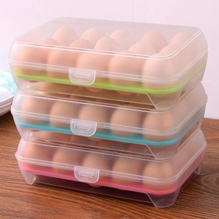 Portable 15 Eggs Storage Case Holder Box Refrigerator Storage ...