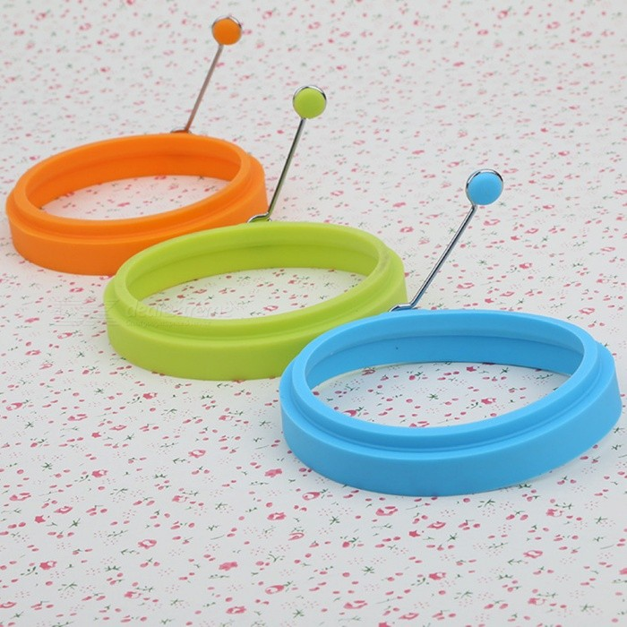 Round Shaped Silicone Kitchen Omelette Egg Cake Baking Tool Mould with Iron Handle Ring - Blue