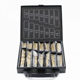 99PCS Titanium Coated HSS Twist Drill Bits Tool Kit Set with Case