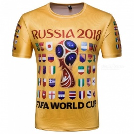 2018 Russian World Cup Men's Digital Printing Short-Sleeved T-Shirt Souvenir - Yellow (L)