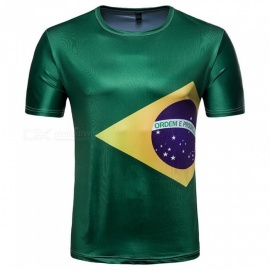 2018 Russian World Cup Men's Selecao Brazil Team Style Short-sleeved Round Collar T-shirt - Green (M)