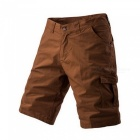 Men's Large Size Casual Multi-pocket Short Pants Cargo Shorts - Dark Khaki (Size 30)