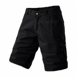 Men's Large Size Casual Multi-pocket Short Pants Cargo Shorts - Black (Size 40)