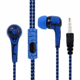 OJADE Portable 3.5mm Wired Stereo Headphone Headset with Microphone for IPHONE Xiaomi Huawei Samsung - Blue