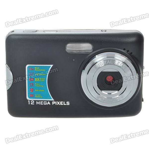 "2.7"" TFT LCD CMOS 12MP Digital Video Camera with 8X Digital Zoom - Black"