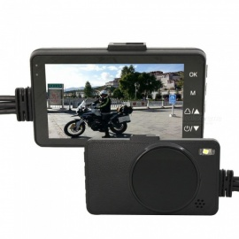 Waterproof Moto DVR Recorder, Front and Rear View Camera - Black