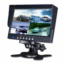 7 Inches 4-Way HD Car LCD Display Monitor with Sun Shade - Black