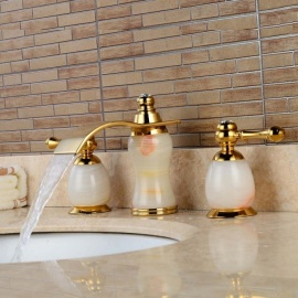 Brass Waterfall Ceramic Valve Three Holes Imitation Jade Ti-PVD, Bathroom Sink Faucet w/ Two Handles