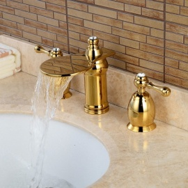 Brass Waterfall Ceramic Valve Three Holes Ti-PVD Bathroom Sink Faucet w/ Two Handles