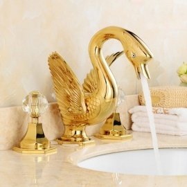 Contemporary Luxury Series Swan Shape Brass Ceramic Valve Three Holes Ti-PVD, Bathroom Sink Faucet w/ Two Handles