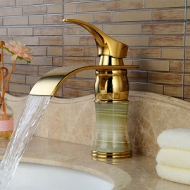 Brass Deck Mounted Ceramic Valve One Hole Imitation Jade Ti-PVD, Bathroom Sink Faucet w/ Single Handle