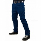 Summer Men's Solid Color Trousers Business Casual Straight-Leg Pants - Navy Blue (L)
