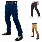 Summer Men's Solid Color Trousers Business Casual Straight-Leg Pants - Navy Blue (M)