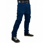 Summer Men's Solid Color Trousers Business Casual Straight-Leg Pants - Navy Blue (XL)
