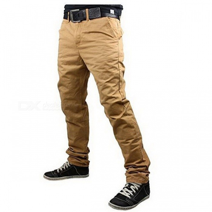 Summer Men's Solid Color Trousers Business Casual Straight-Leg Pants - Khaki (2XL)