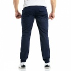 Summer Men's Cotton Casual Ankle Banded Pants Trousers - Navy Blue (2XL)