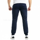 Summer Men's Cotton Casual Ankle Banded Pants Trousers - Navy Blue (XL)