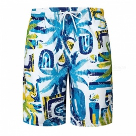 2018 Men's Summer Coconut Tree Printed Beach Casual Shorts Pants - M