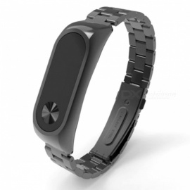 Replacement Stainless Steel Luxury Wristband Metal Ultrathin Strap for Xiaomi Mi Band 2 - Black