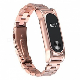 Replacement Stainless Steel Luxury Wristband Metal Ultrathin Strap for Xiaomi Mi Band 2 - Rose Golden