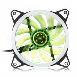 12V Postposition Shiny Double Blades Cooling Fan for Computer Case - Green
