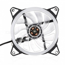 12V Postposition Shiny Double Blades Cooling Fan for Computer Case - White