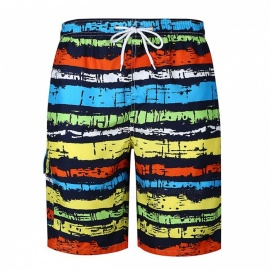 Men's Color Striped Casual Cotton Beach Short Pants Shorts - Colorful (2XL)