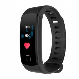 Inseguitore di fitness intelligente per braccialetto bluetooth V4.0 con display a colori da 0,96 pollici IP68 - nero