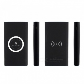 Fast Qi Wireless Charger Power Bank for Mobile Phone - Black