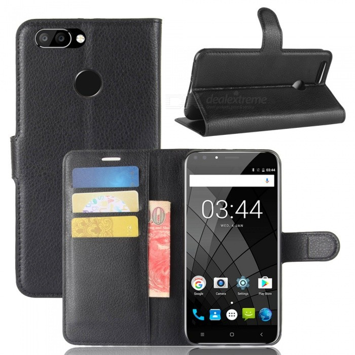 Protective Flip Open Full Body Case with Stand for Oukitel U22 - Black