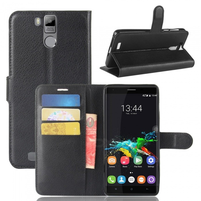 Protective Flip Open Full Body Case with Stand for Oukitel K6000 Pro - Black