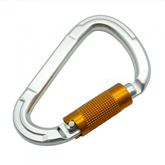 A7075 Aeronautical Aluminum Alloy Rock Climbing Security Automatic Door Master Lock D Type Ring Buckle 2000KG - Silver + brown