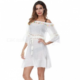 2018 New Style Off-Shoulder Beach Bikini, Sunproof Tassel Dress for Gilrs - White (One Size)