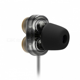 QKZ KD7 Dual Driver 3.5mm Wired Earphone with Microphone, Gaming Headset - Black