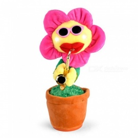 P-TOP Enchanting Playing Saxophone Sunflower Doll Electric Sun Flower Toy - Pink + Brown