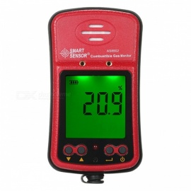 AS8902 Large LCD Backlit High Sensivity Natural Gas Meter Alarm Digital Combustible Gas Leak Detector