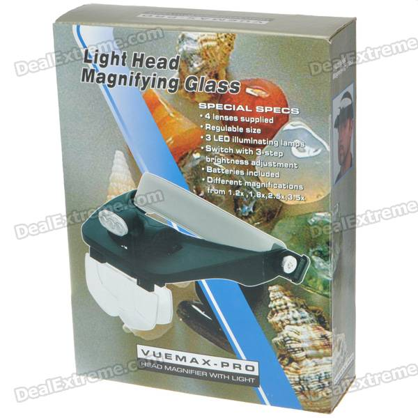 Light Head Magnifying Glasses with 4 Pieces Different Multiple Lens (3*AAA)