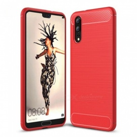Naxtop Wire Drawing Carbon Fiber Textured TPU Brushed Finish Soft Phone Back Cover Case for Huawei P20 - Red