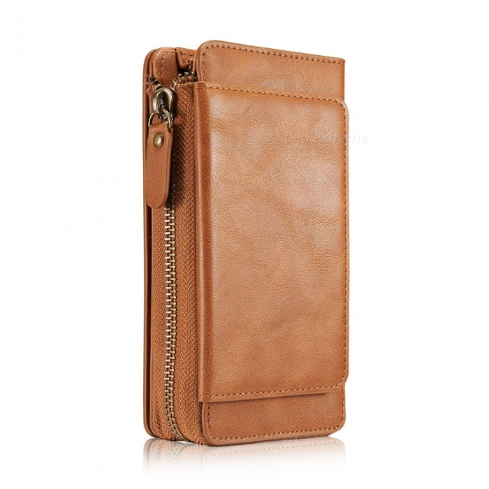 Measy Fashionable PU Leather Wallet Style Case with Zippered Bag for Samsung Galaxy S9 - Brown