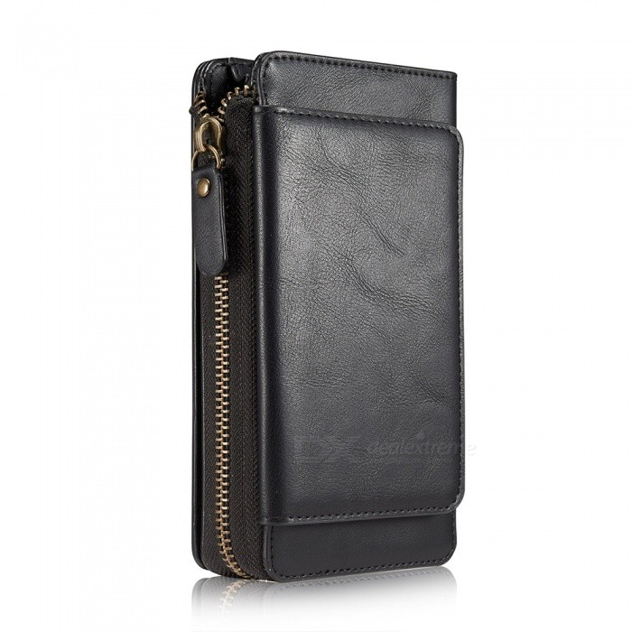 Measy Fashionable PU Leather Wallet Case with Zippered Bag for Samsung Galaxy S9 Plus - Black