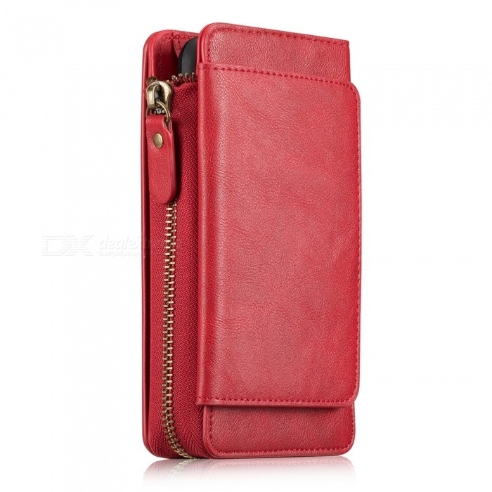 Measy Fashionable PU Leather Wallet Case with Zippered Bag for Samsung Galaxy S9 Plus- Red