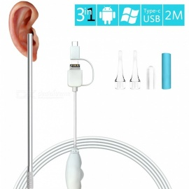 Measy 0.3MP Ear Digital Endoscope Otoscope, Earwax Cleansing Tool with 6 LEDs for Micro USB, USB-C Android Phone, Windows MAC PC