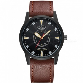 Hannah Martin 1701 Fashion Men's PU Leather Strap Quartz Analog Wrist Watch with Date Display - Brown + Black