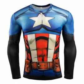 3D Printing Fast-Drying Long-Sleeved Tight-Fitting Male T-shirt - Red + Blue (XXXL)